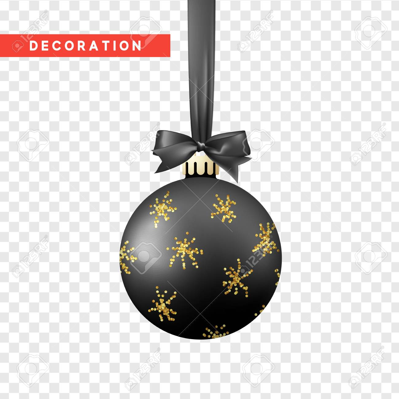 Xmas Balls Black And Gold Color Christmas Bauble Decoration