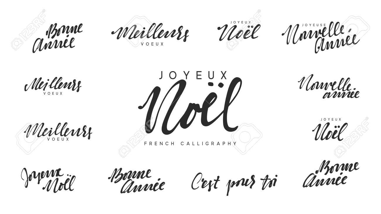 Lettrage Français Joyeux Noel Meilleurs Voeux Bonne Anne Joyeux Noël Et Bonne Année Calligraphie Du Texte En Noir