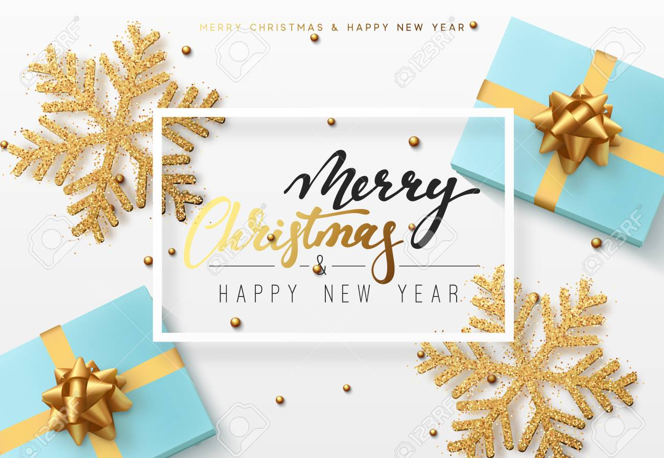 Christmas background with gifts box and shining golden snowflakes. Merry Christmas card vector Illustration. - 88401623