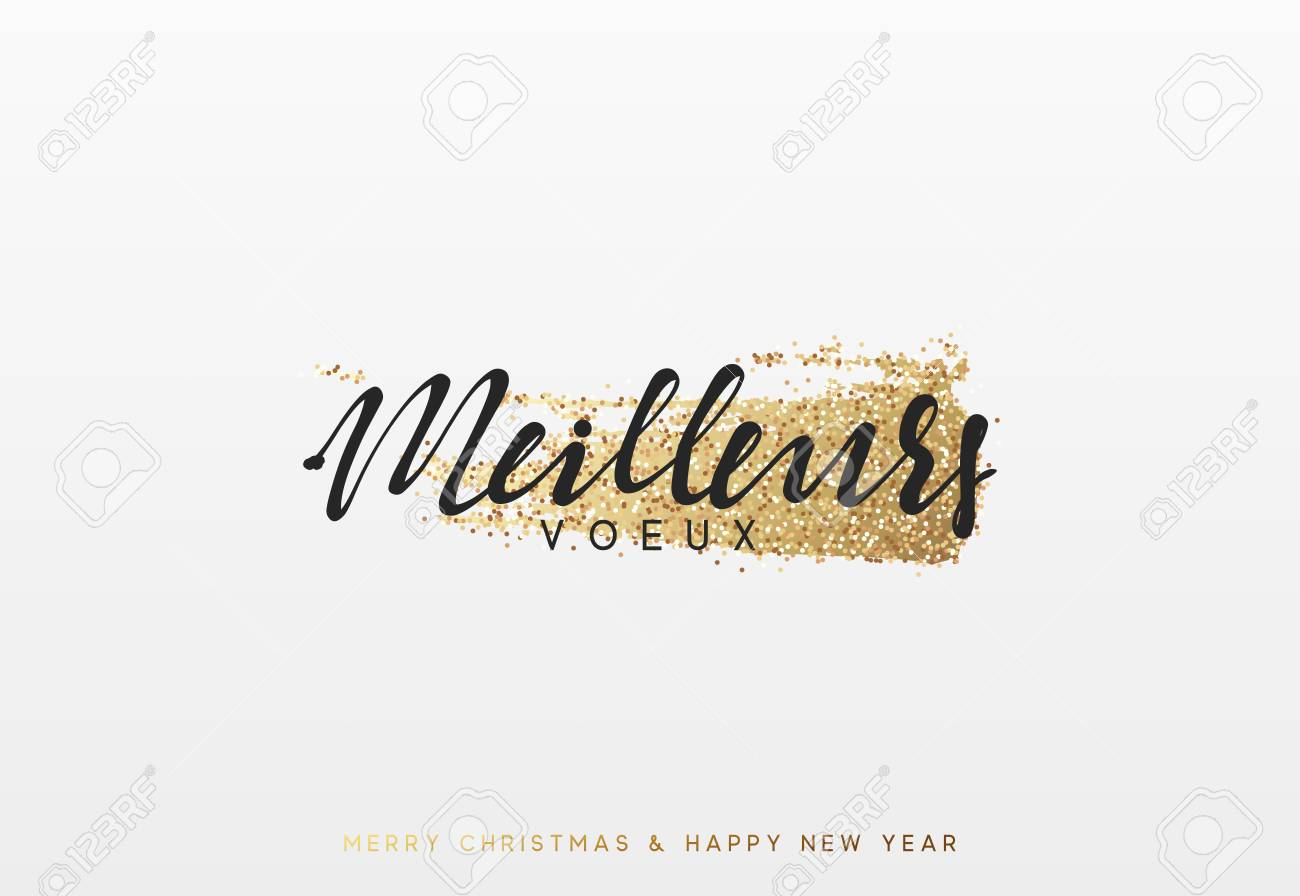 French Lettering Meilleurs Voeux Christmas And New Year Luxury Royalty Free Cliparts Vectors And Stock Illustration Image 88402207