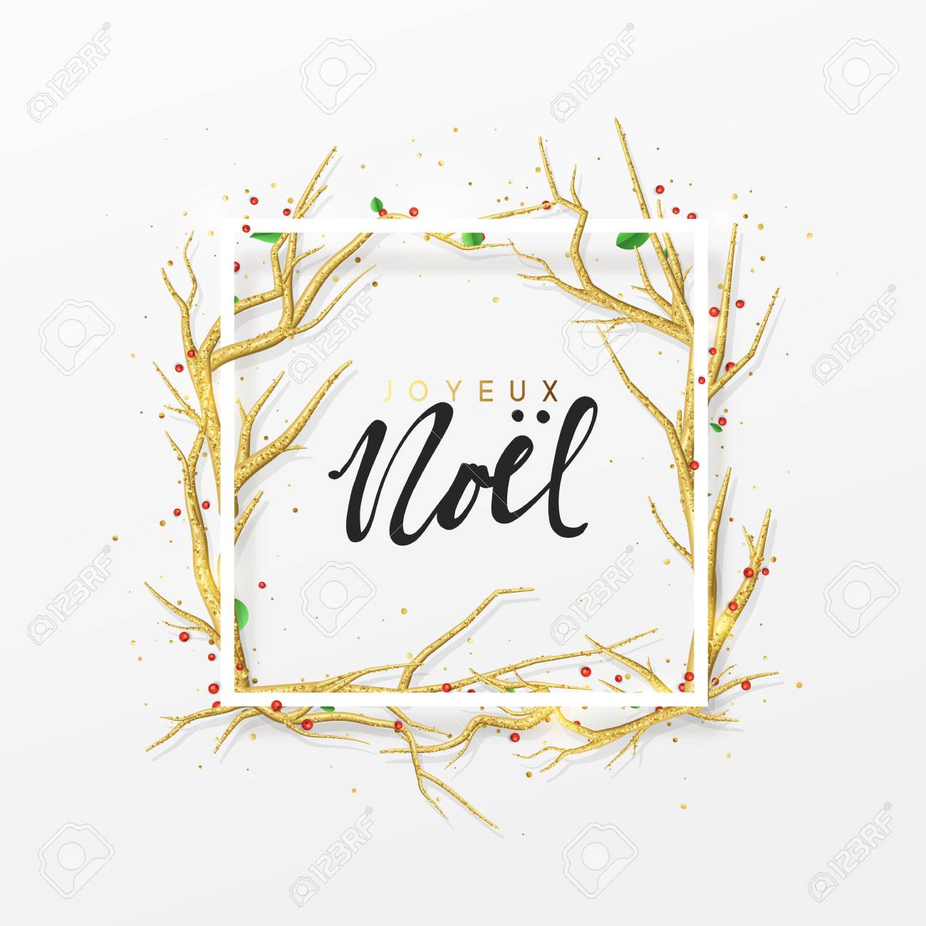 French Text Joyeux Noel. Merry Christmas Greeting Cards. Xmas ...