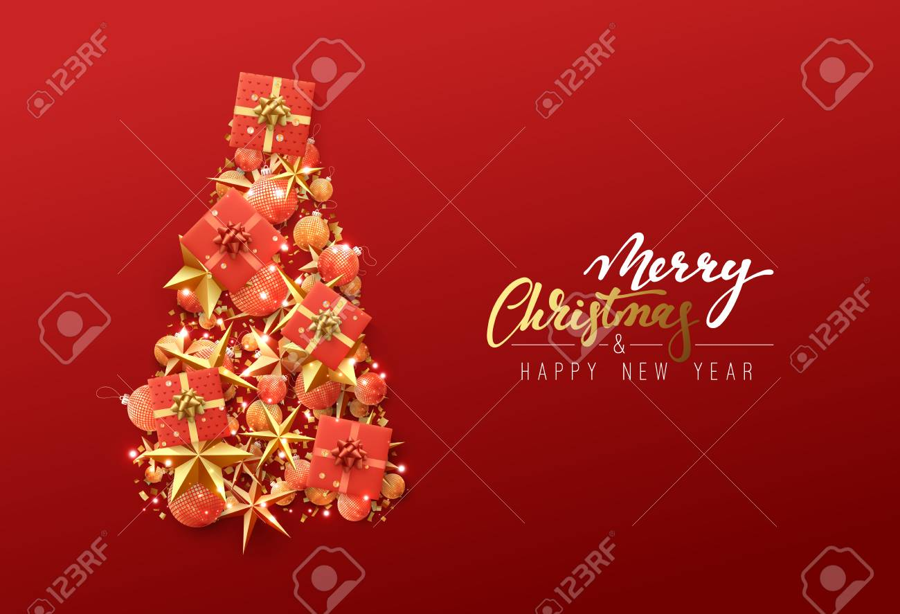Christmas Greeting Card Creative Composition In Shape Xmas Tree