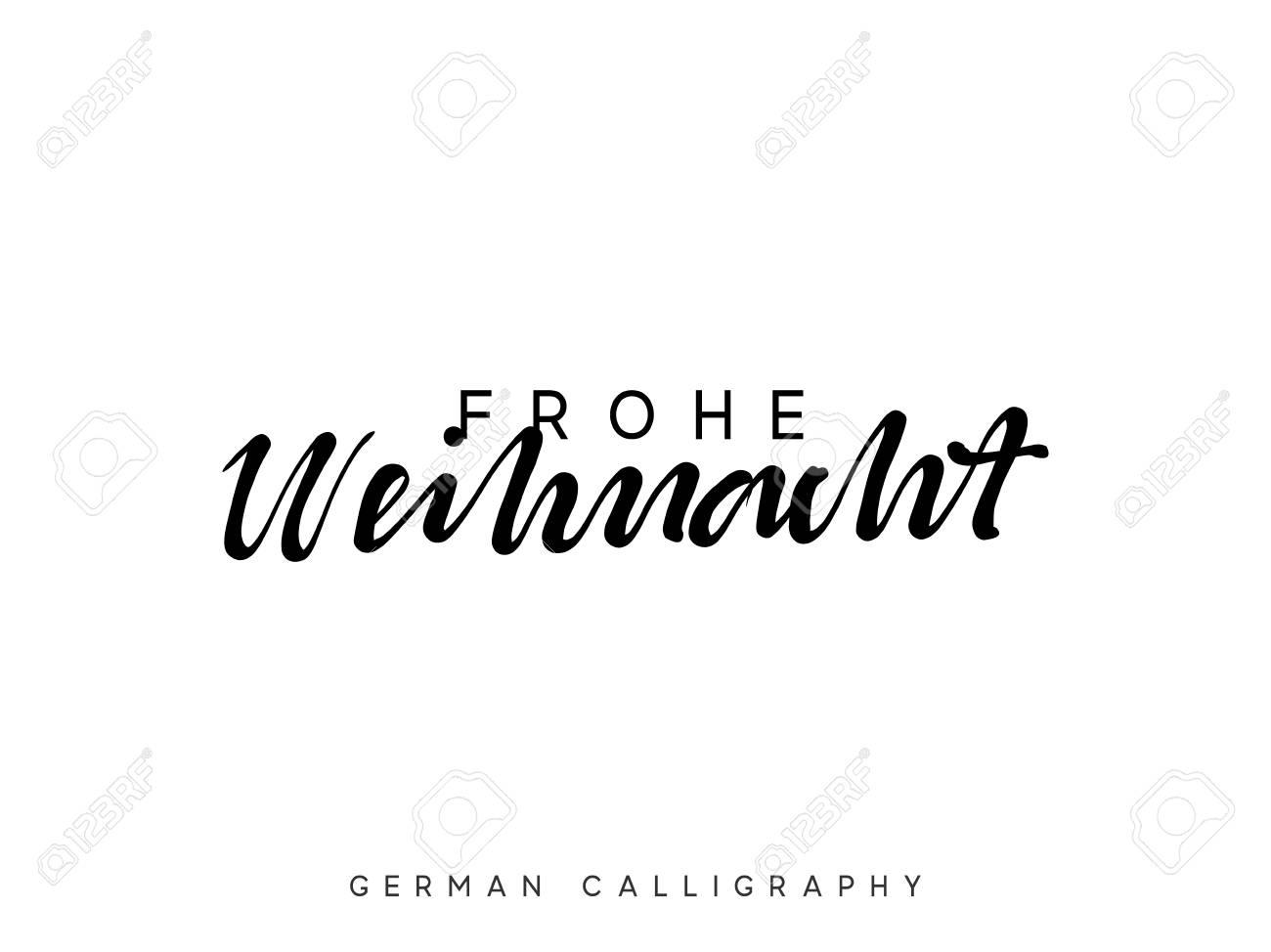 Frohe Weihnachten Text.German Text Frohe Weihnachten Merry Christmas Hand Drawn Calligraphy