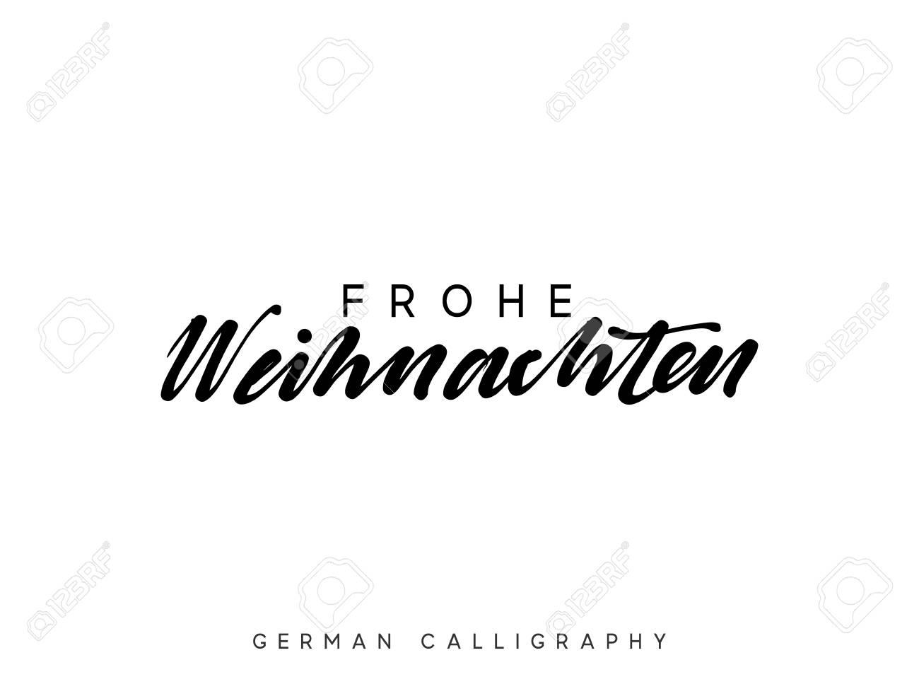 Text Frohe Weihnachten.German Text Frohe Weihnachten Merry Christmas Hand Drawn Calligraphy
