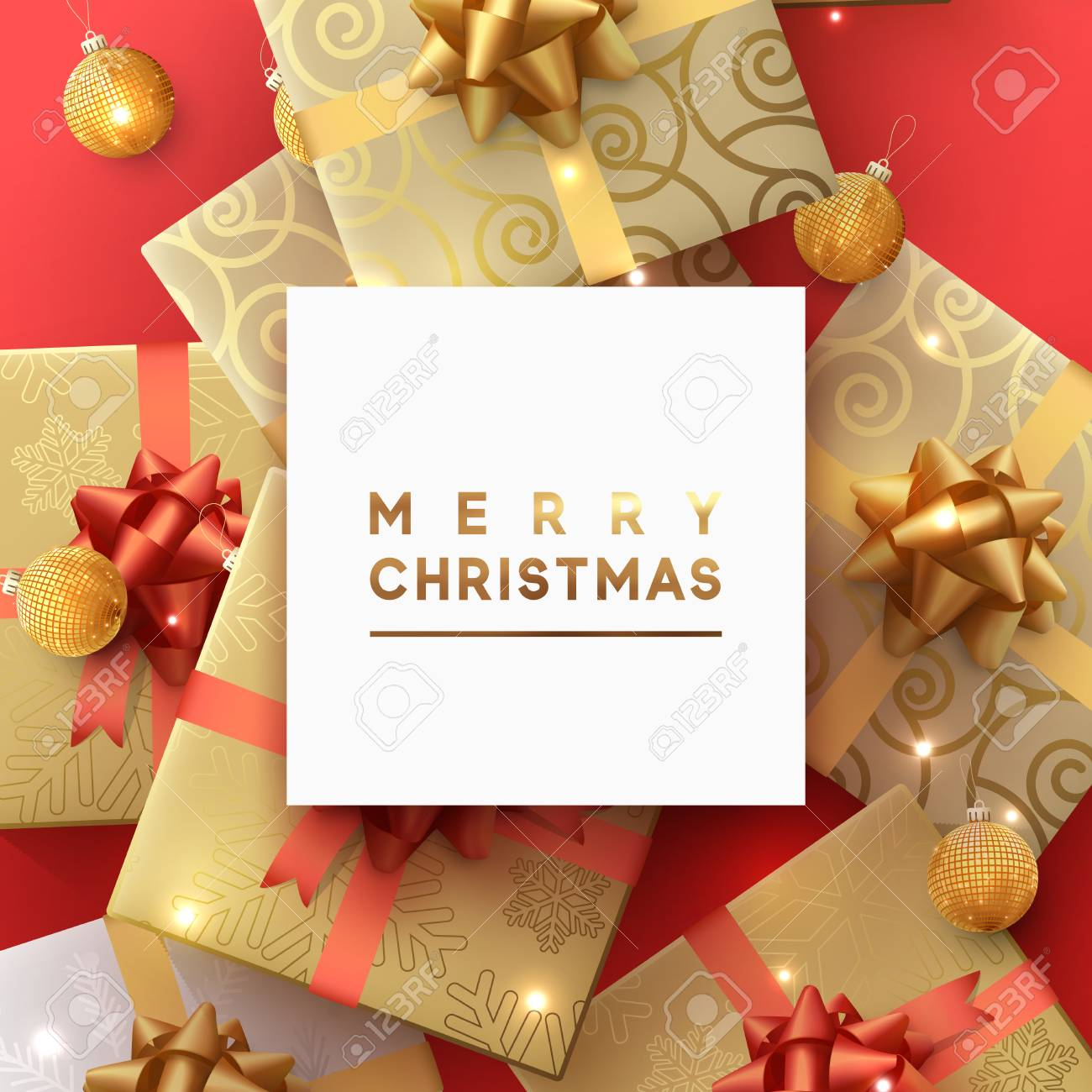 Merry Christmas And Happy New Year Greeting Card. Xmas Holiday ...