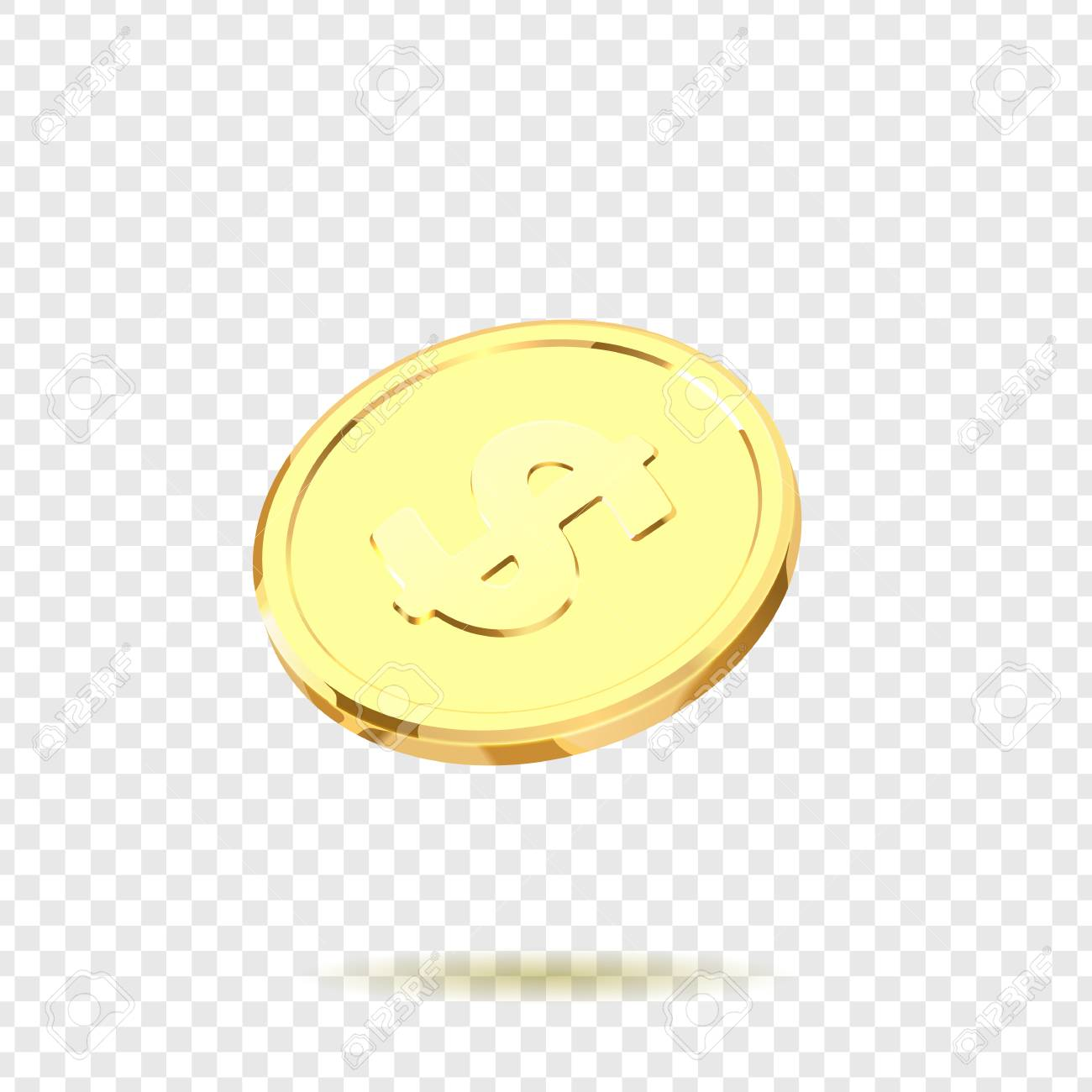 Golden Coins Realistic Gold Money Isolated On A Transparent Background Stock Vector