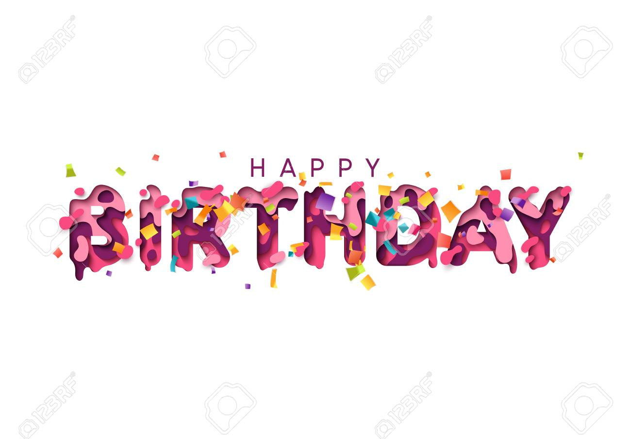 happy birthday greeting card design letter modern style paper cut multi color layers stock
