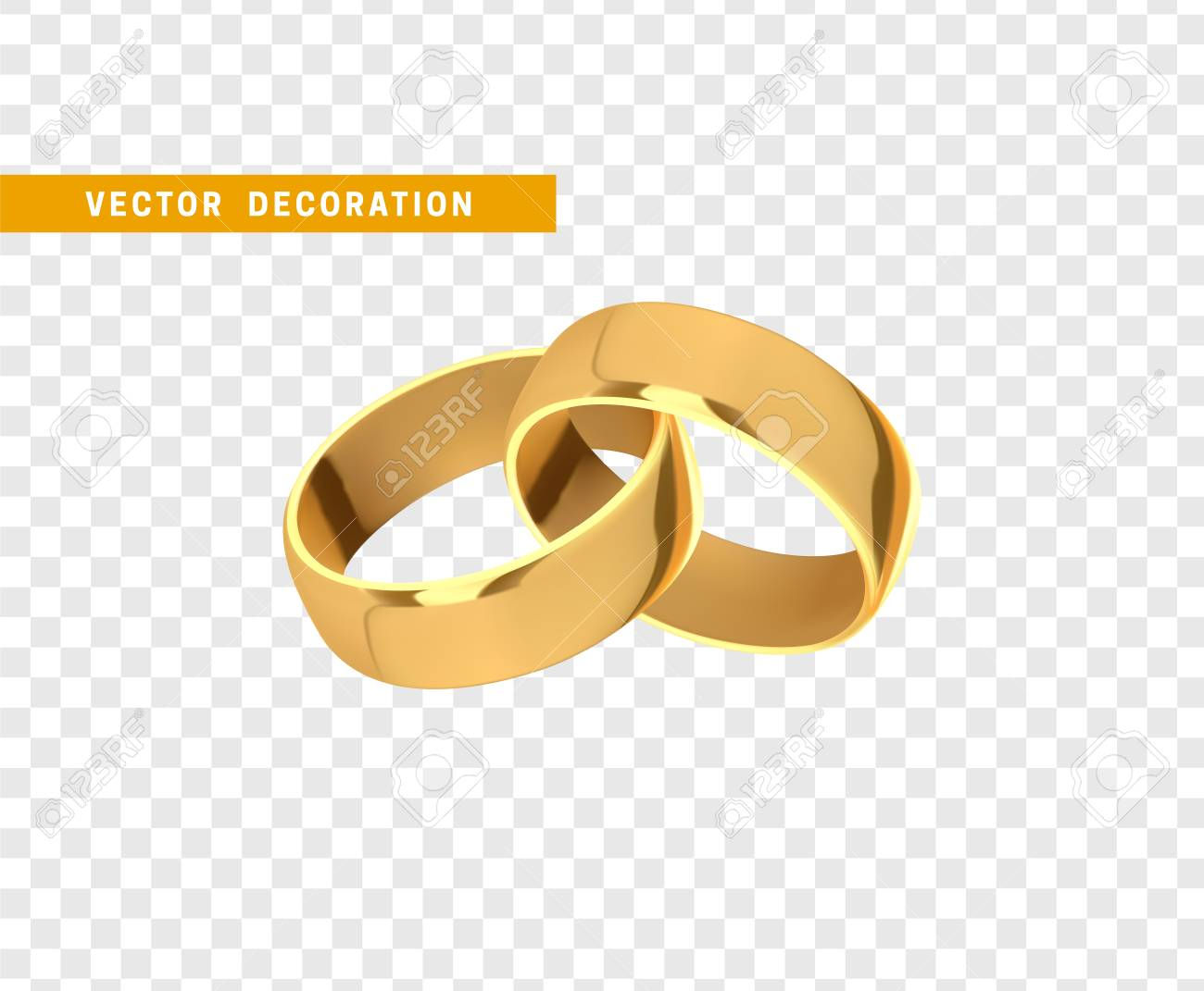Golden Wedding Rings Realistic Design Isolated On Transparent Background Stock Vector 97894846: Wedding Ring Without Background At Websimilar.org