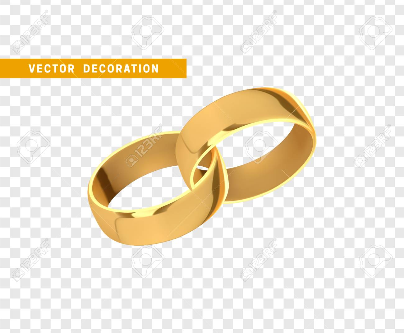 Golden Wedding Rings Realistic Design Isolated On Transparent Background Stock Vector 97894848: Wedding Ring Without Background At Websimilar.org