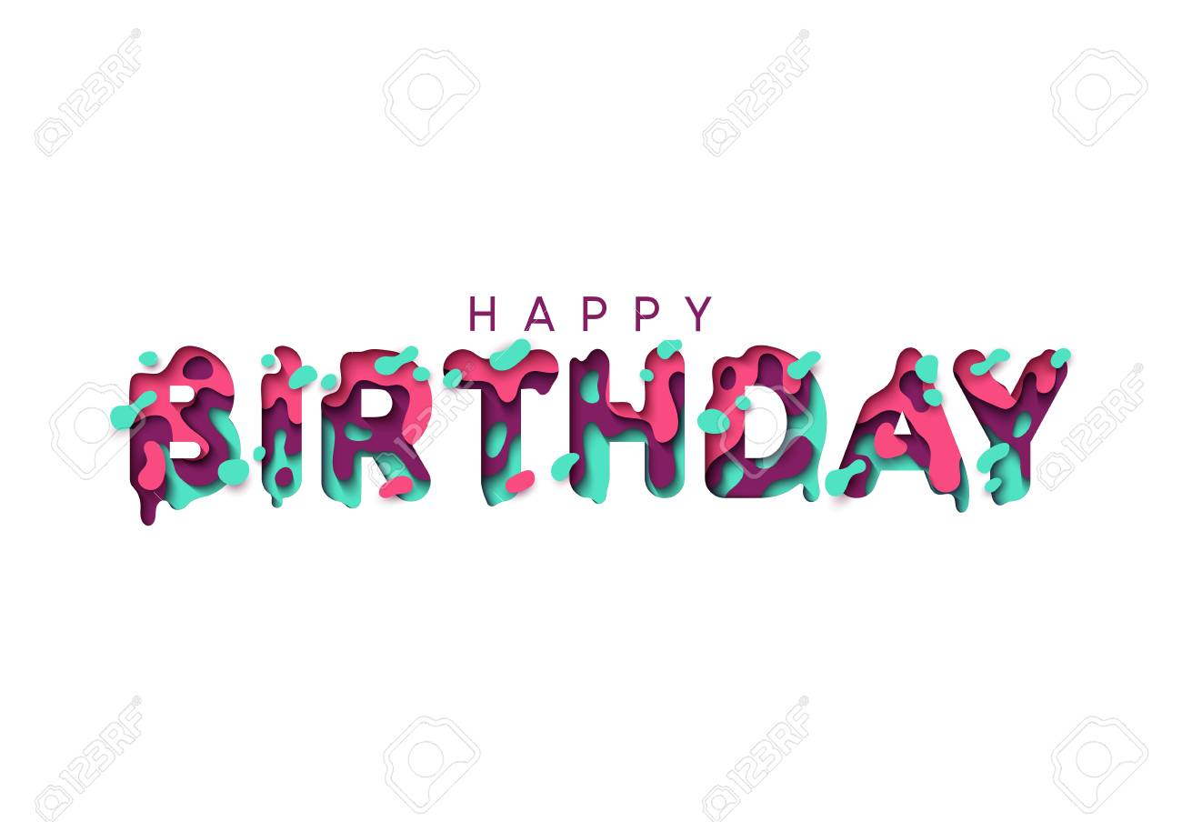 Happy birthday greeting card design letter modern style papercut happy birthday greeting card design letter modern style papercut multi color layers stock vector m4hsunfo
