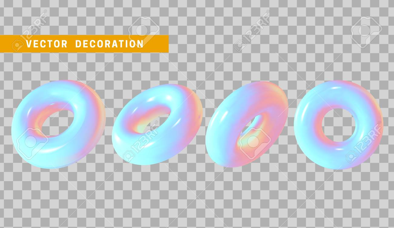 design element in shape of 3d torus bright neon color round ring