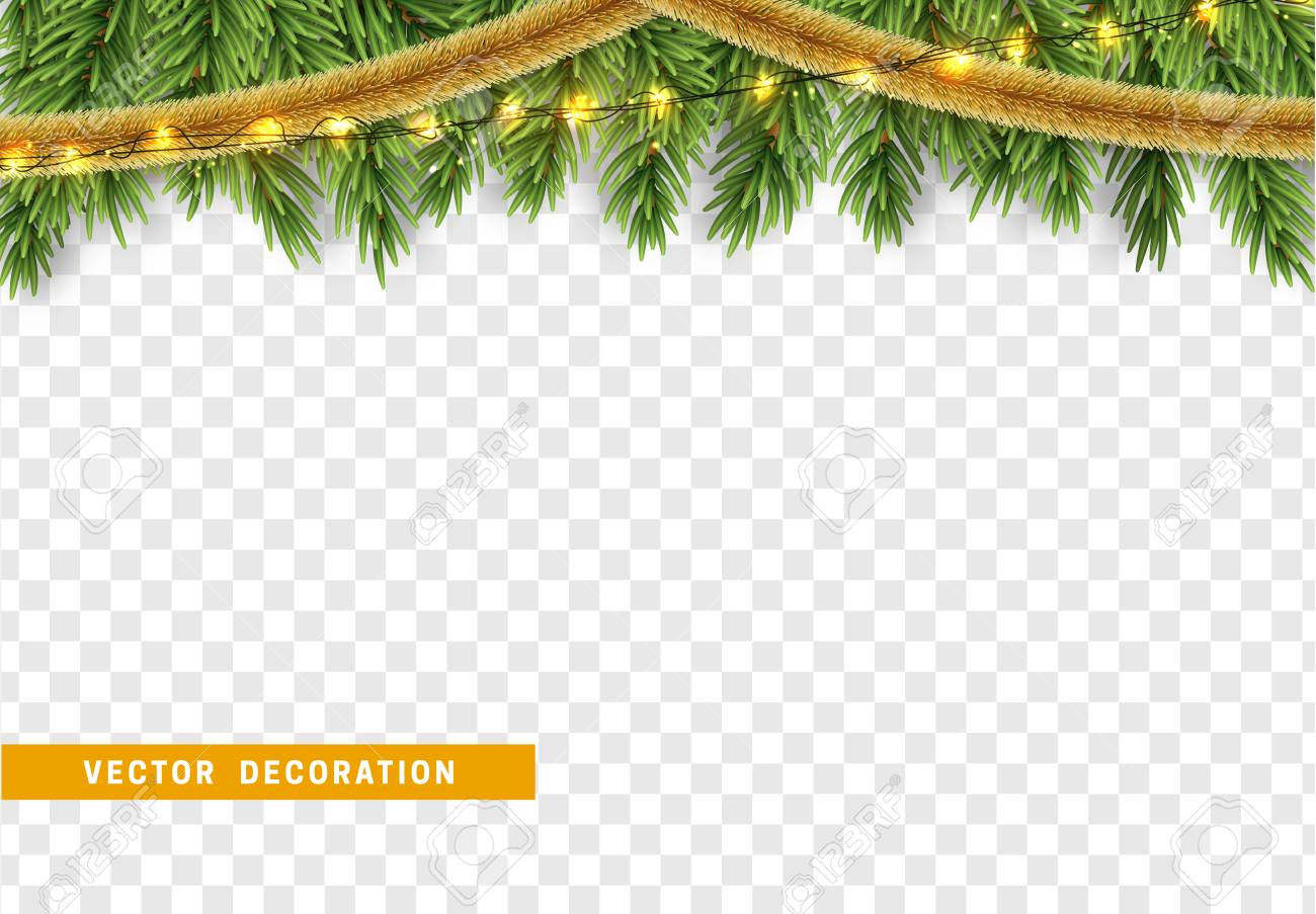 Christmas Tinsel Transparent Background.Christmas Border With Fir Branches String Lights Garland And