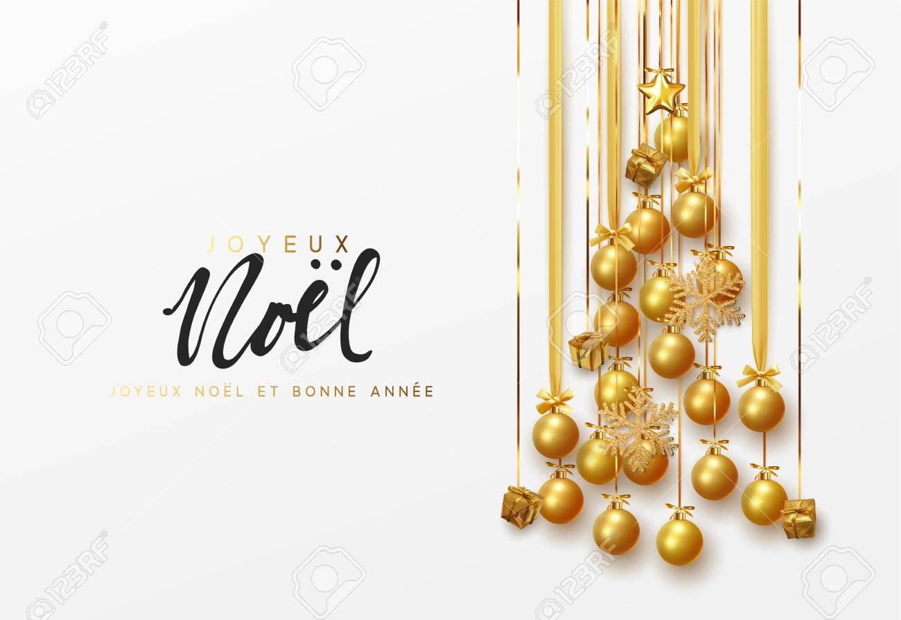 French Lettering Joyeux Noel Christmas Greeting Cards Banner