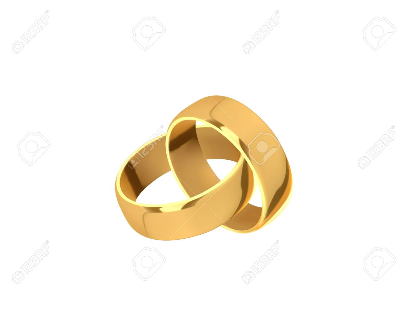 Design Wedding Ring   Golden Wedding Rings Realistic Design Isolated On White Background