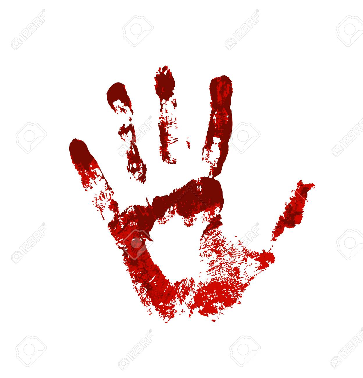 Hand in the red blood  Bloody handprint on white background
