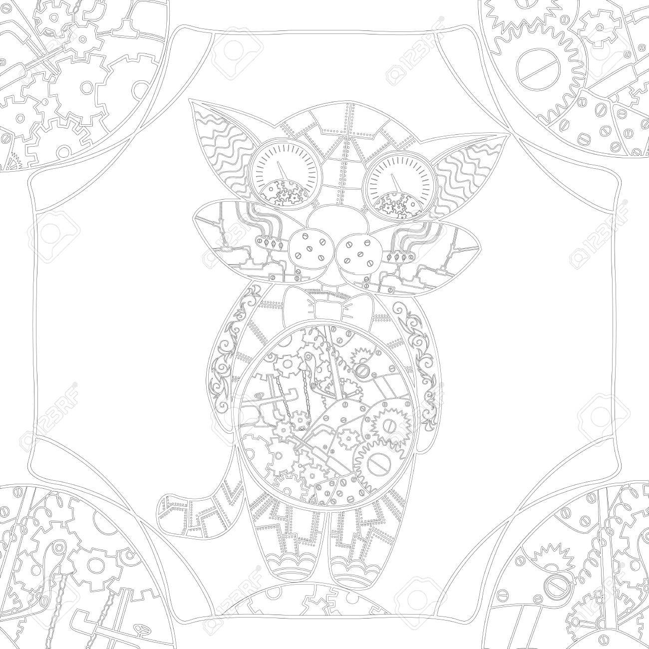 coloring book page with mechanical cat zentangle picture with very fine lines for older children and