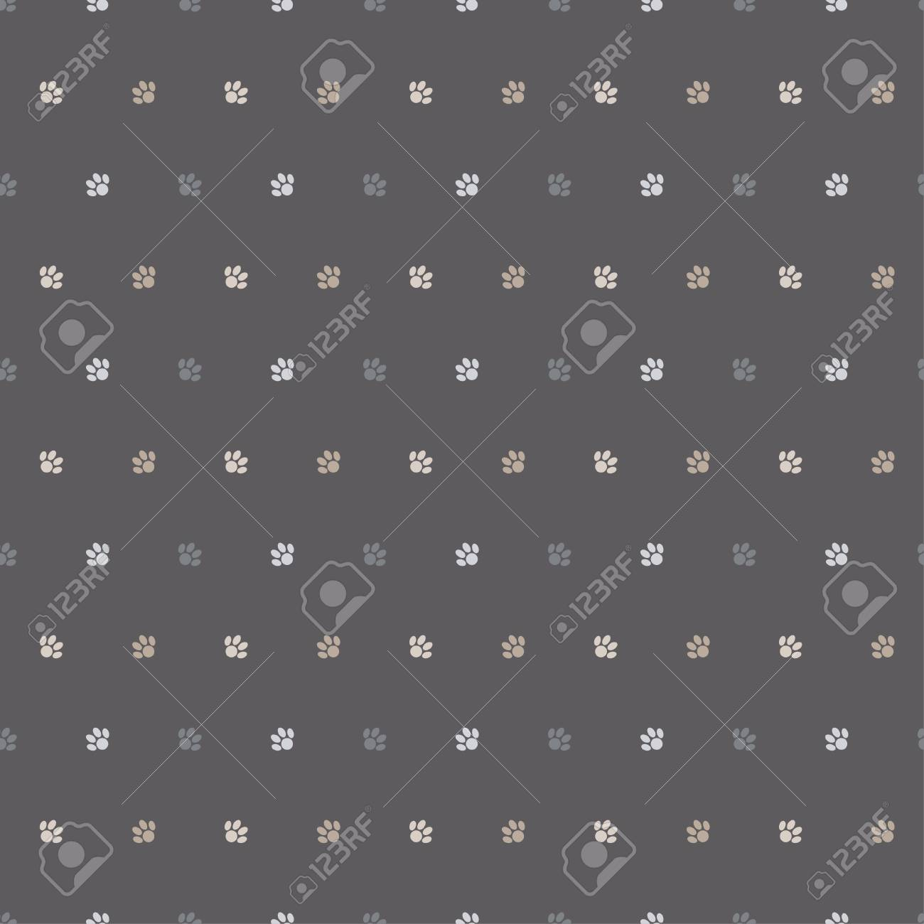 Seamless Vector Background With Cat Paws Print Repeating Cloth Design Wallpaper