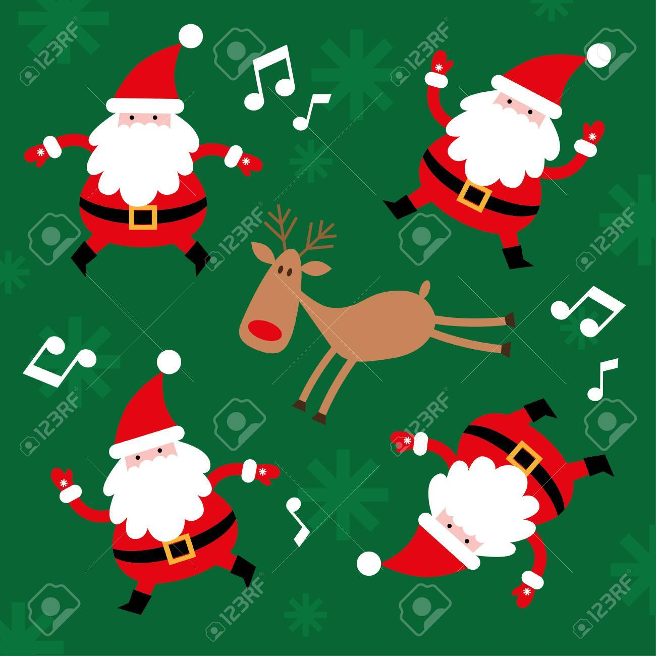Christmas Card Santa Claus Dancing. New Year. Vector Illustration ...