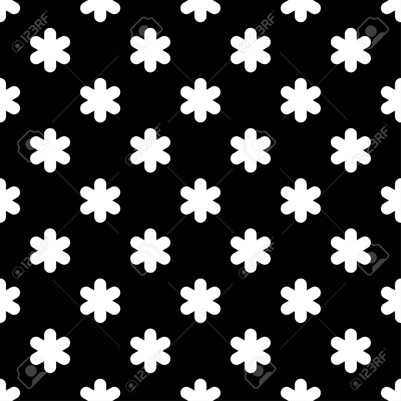 Black And White Seamless Pattern Of Lace Flowers Vector