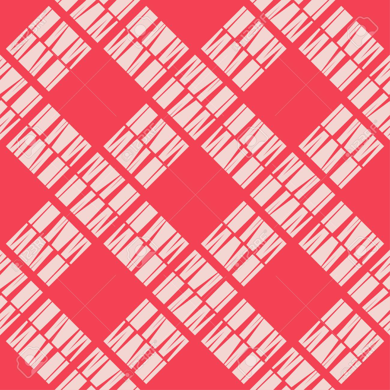 Seamless abstract geometric pattern. Mosaic texture. Brushwork. Hand hatching. Scribble texture. Textile rapport. - 105415194