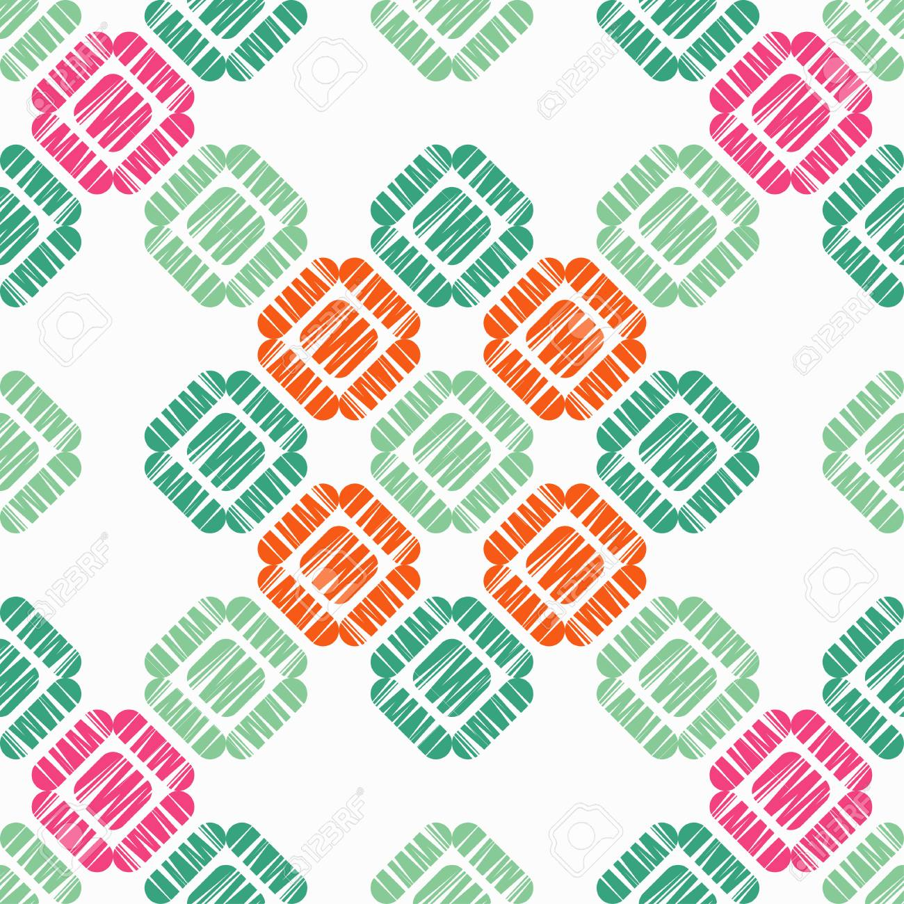 Seamless abstract geometric pattern. Mosaic texture. Brushwork. Hand hatching. Scribble texture. Textile rapport. - 105415210