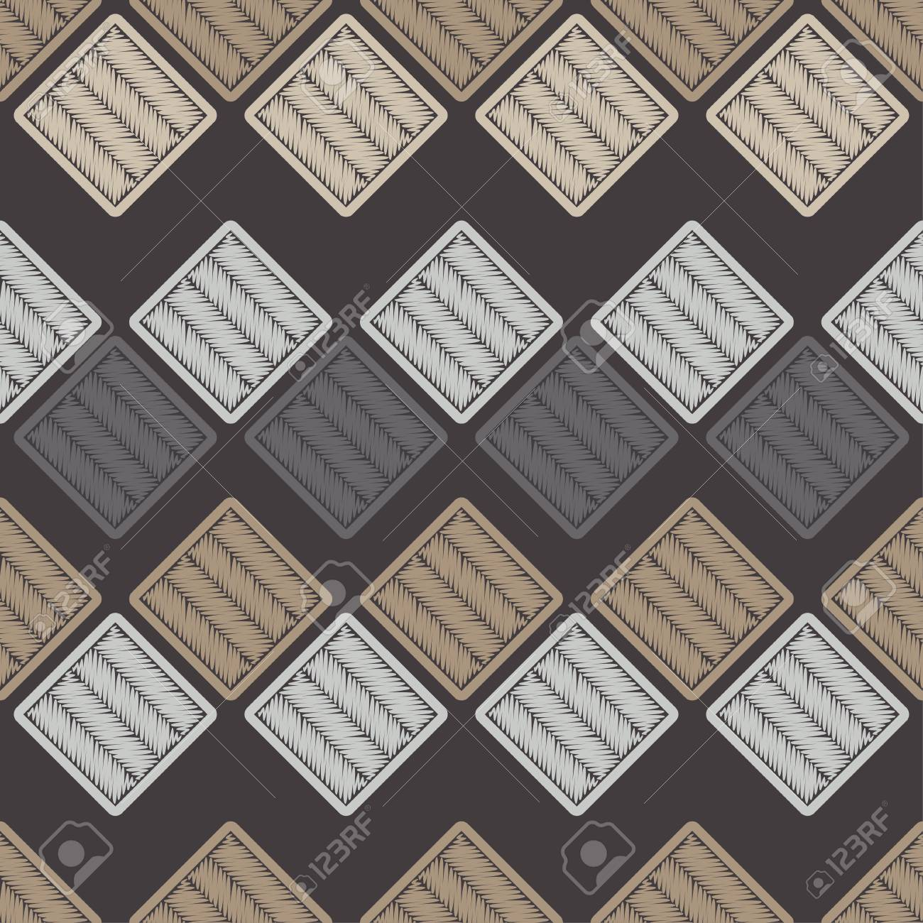 Seamless abstract geometric pattern. Mosaic texture. Brushwork. Hand hatching. Scribble texture. Textile rapport. - 105863939