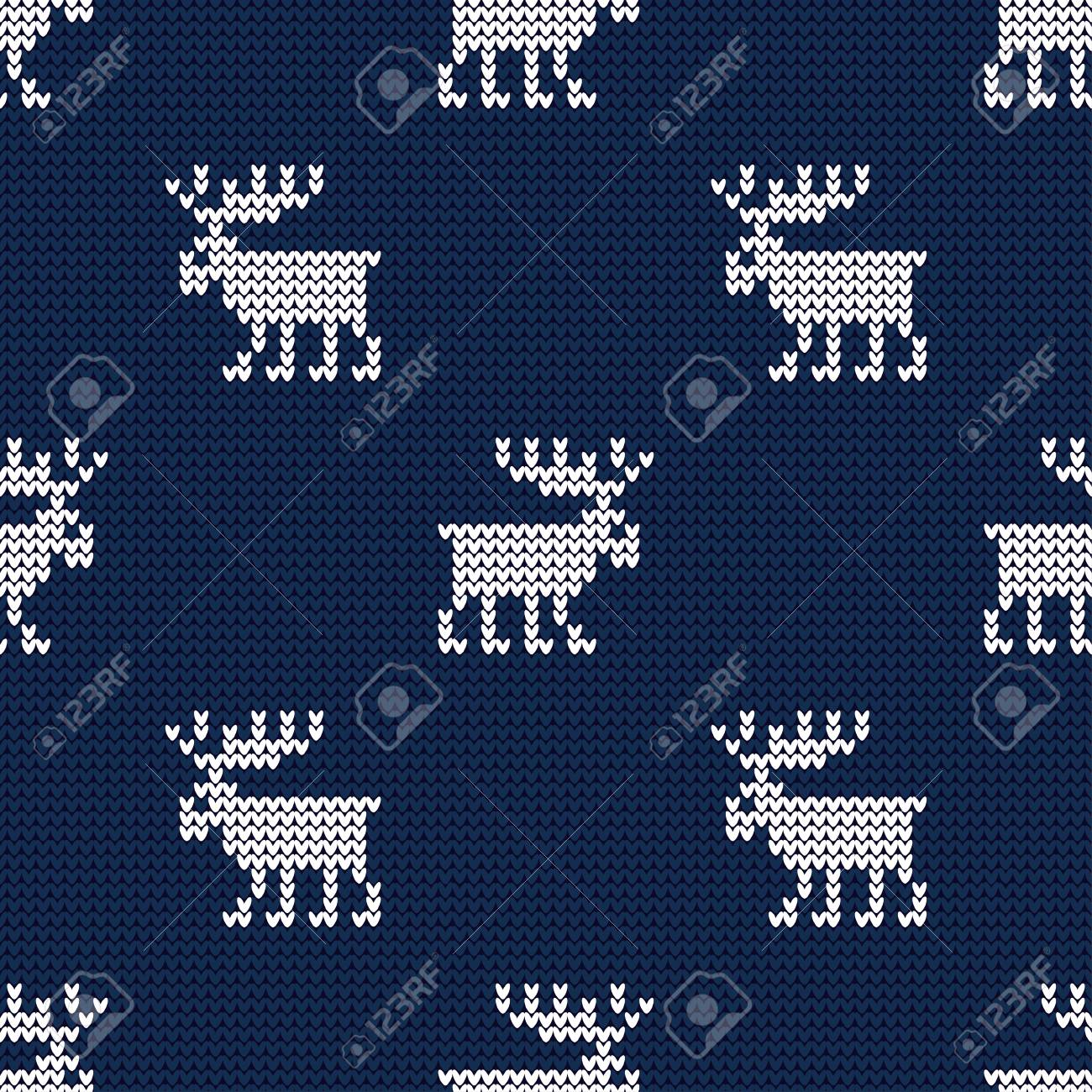 A knitted sweater with Reindeer. Seamless vector background. Christmas pattern. Can be used for wallpaper, textile, wrapping, web page background. - 111185392