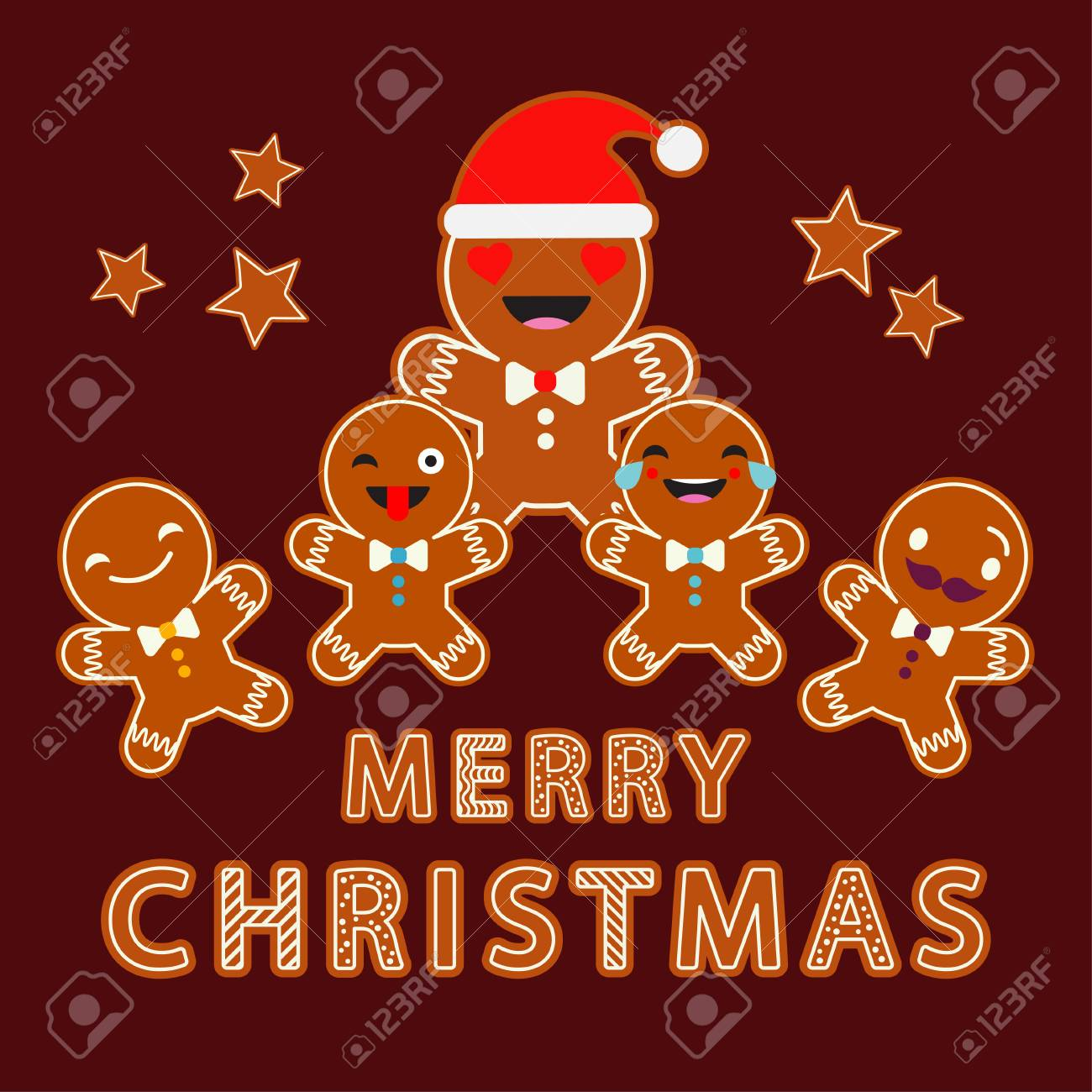 Gingerbread On A Brown Background Christmas Gingerman Cute