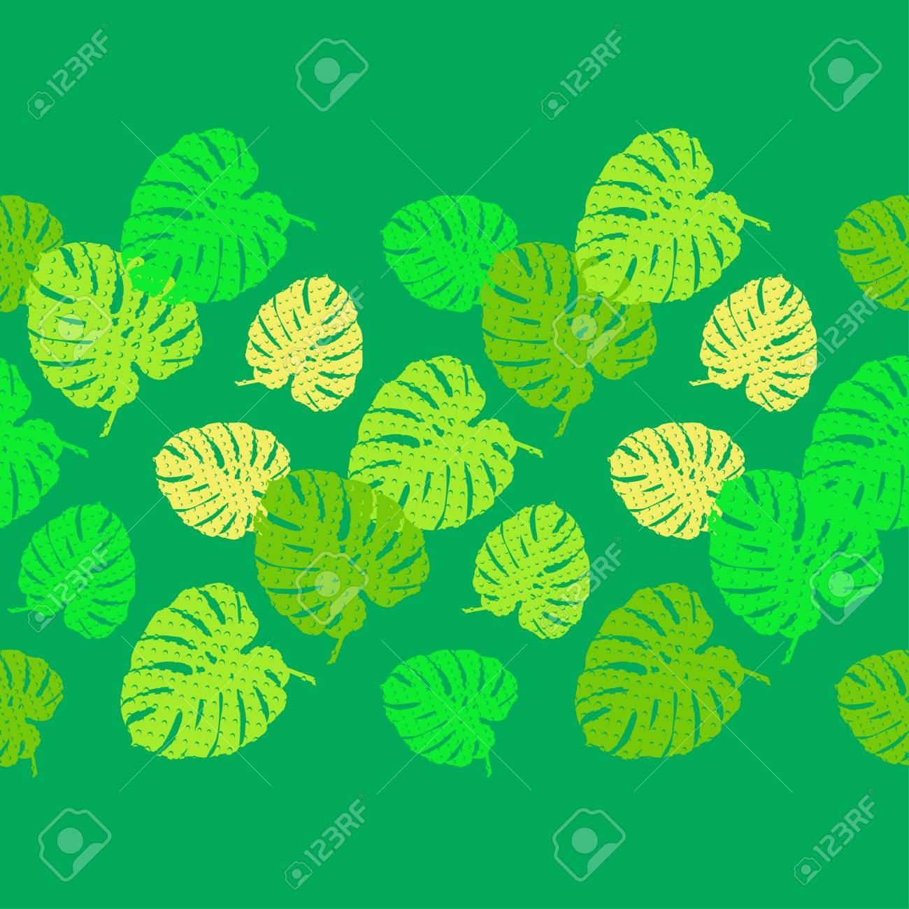 Seamless background with decorative Tropical palm leaves. Monstera. Texture with dots. Can be used for wallpaper, textile, wrapping, web page background. - 115096239