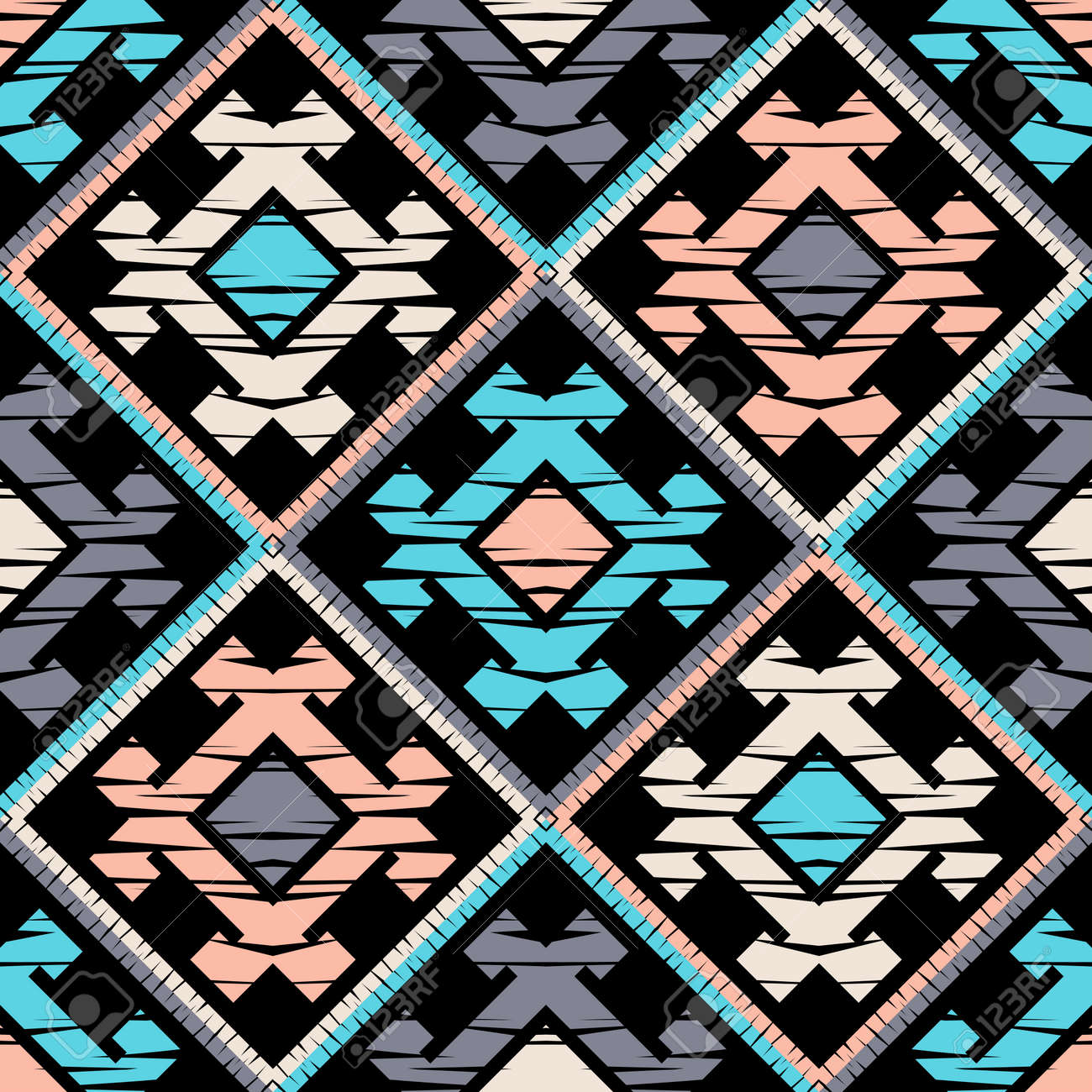 Ethnic boho seamless pattern. Lace. Embroidery on fabric. Patchwork texture. Weaving. Traditional ornament. Tribal pattern. Folk motif. Can be used for wallpaper, textile, wrapping, web. - 139543978