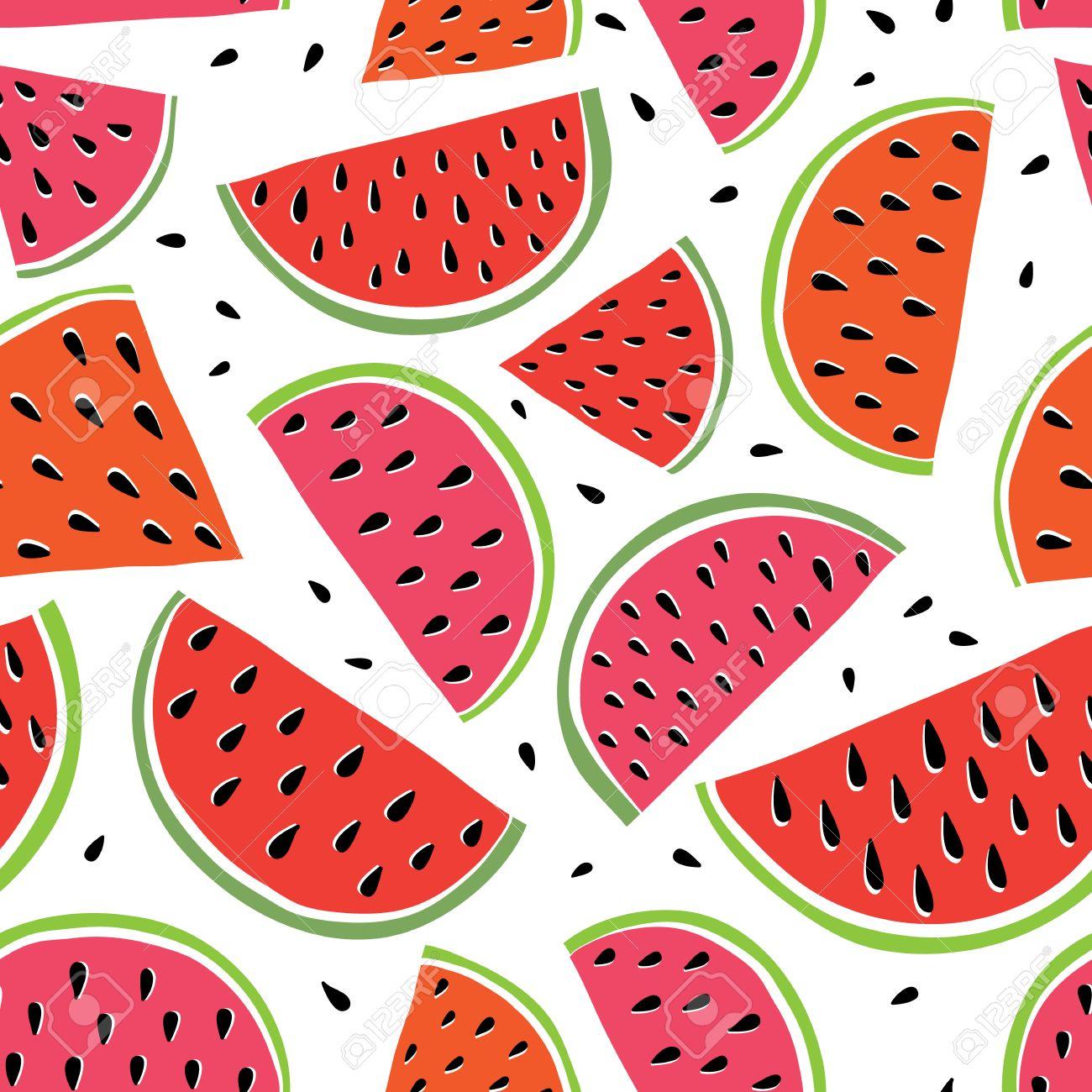 Cute Bright Watermelon Slice Design On White Background Seamless