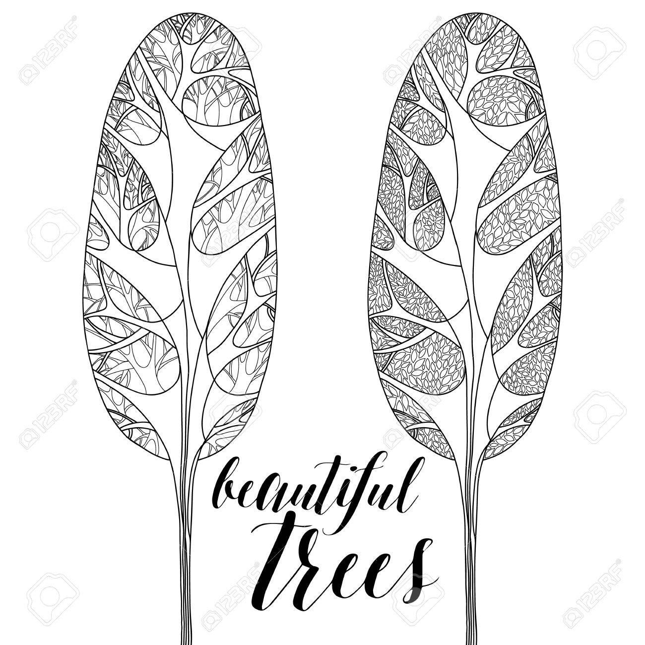 RBoles Forestales, árboles Aislados Altos. Botánica Ilustración ...