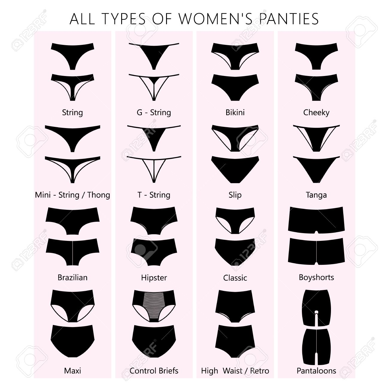 all types of women s panties vector set of underwear silhouette rh 123rf com all sector cisf all sector etfs