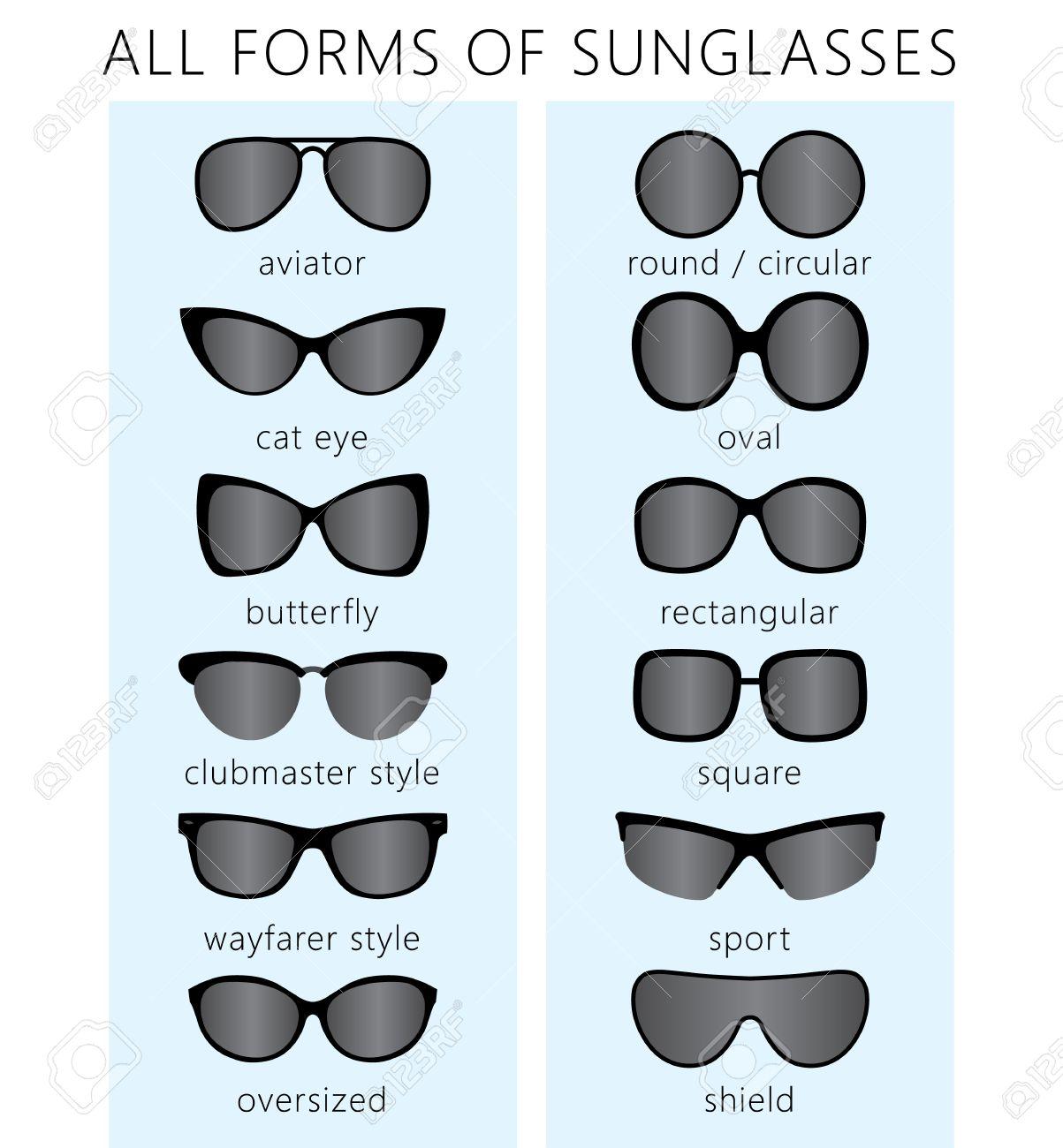 Banque d images - Toutes les formes   types de lunettes de soleil à la  mode. Aviator, oeil de chat, papillon, clubmaster, wayfarer, sport, rond,  bouclier, ... 5932e465c215