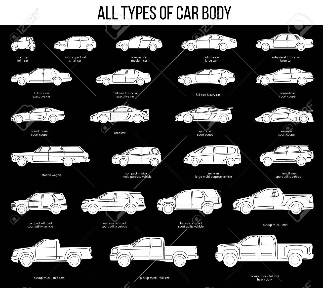 All Types Of Car Body. Car Type And Model Objects Icons Set . Black  Illustration