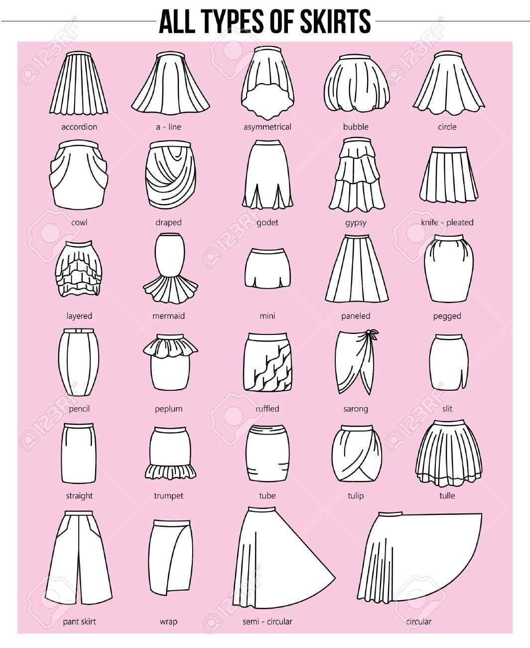 ピンクの背景にスカートのさまざまな種類のセットですシンプルな
