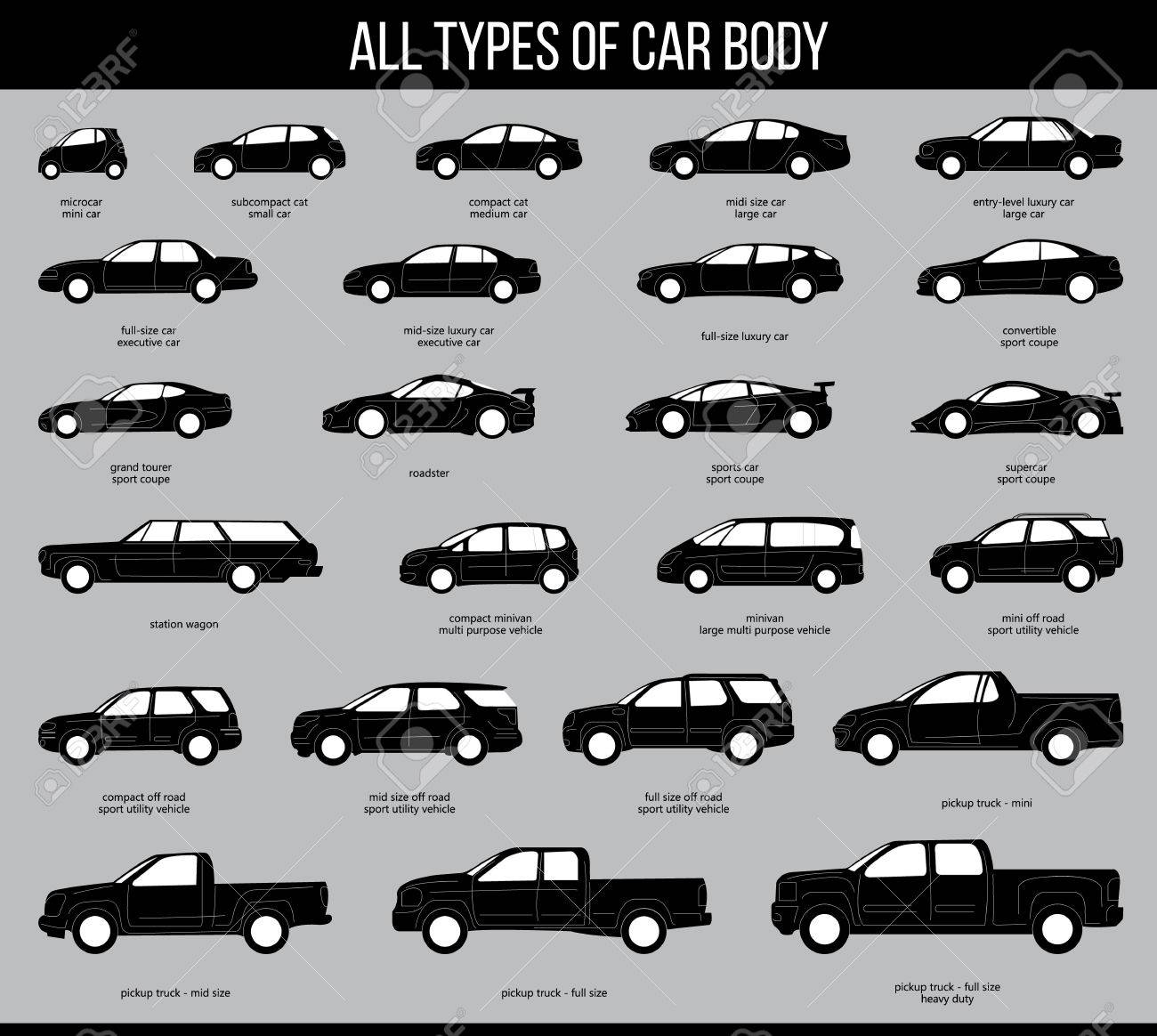 Attractive All Types Of Car Body. Car Type And Model Objects Icons Set . Vector Black