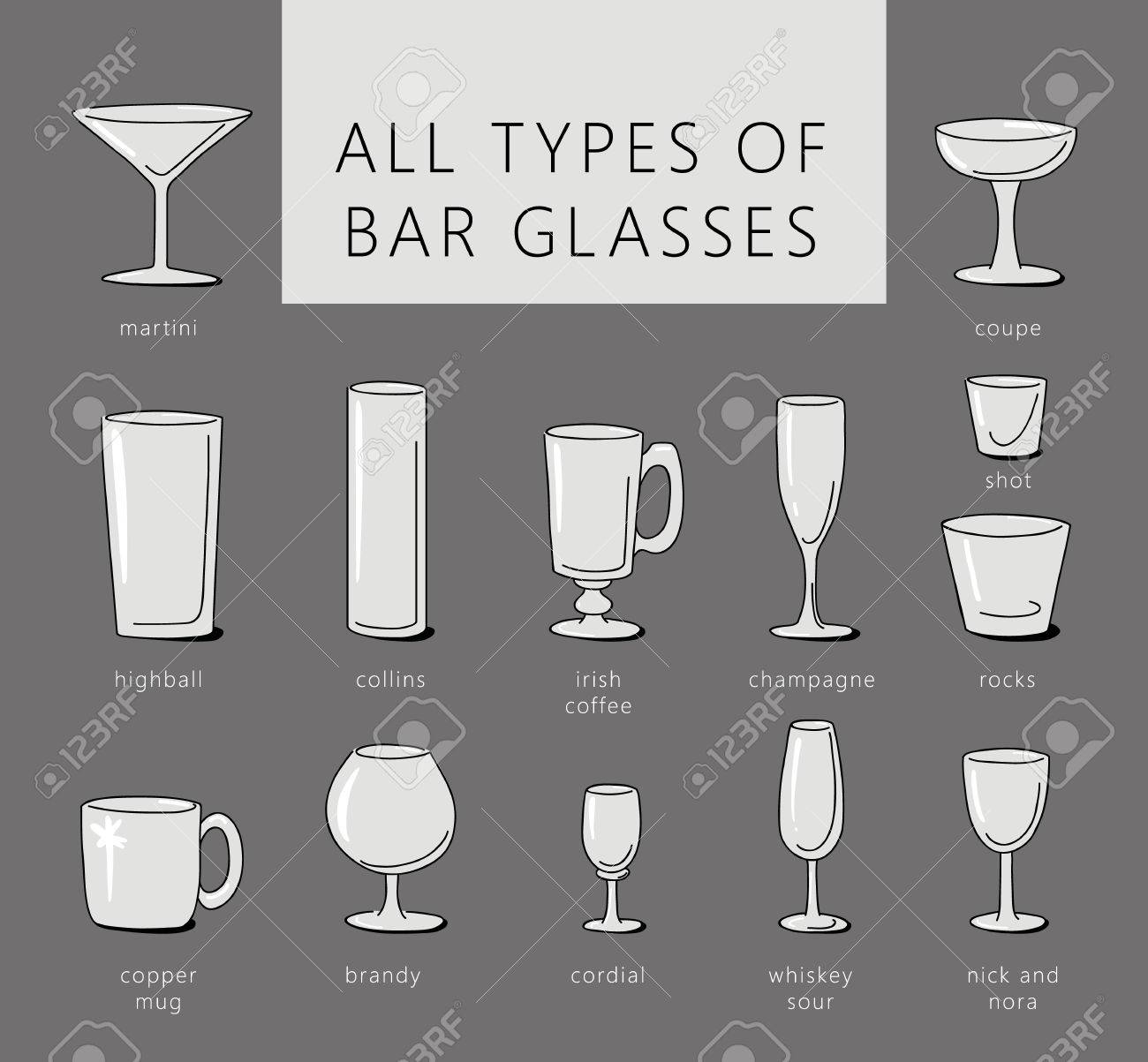 Bar Glasses Vector Icons Set Vector Types Of Barware Glasses Royalty Free Cliparts Vectors And Stock Illustration Image 73765869