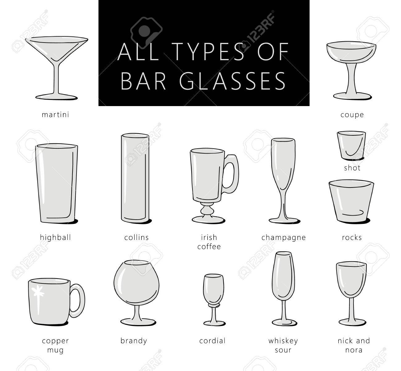 High Quality Bar Glasses Vector Icons Set. Vector Types Of Barware Glasses Silhouettes.  Guide To Various