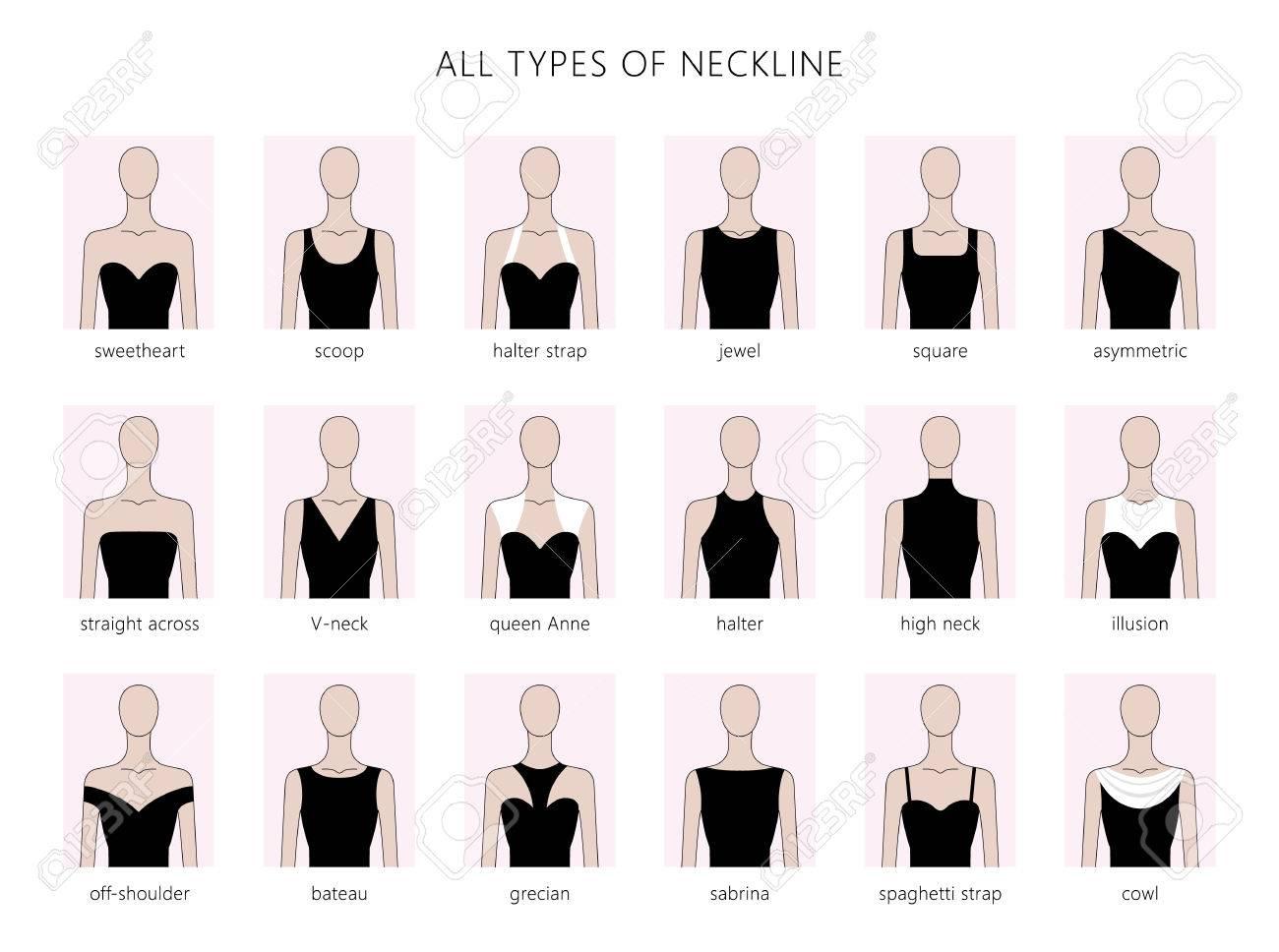 ベクトルの女性の様々 なネックラインの種類のイラスト セット \u0027 ファッション。フラット直線的なスタイルのベクトル。