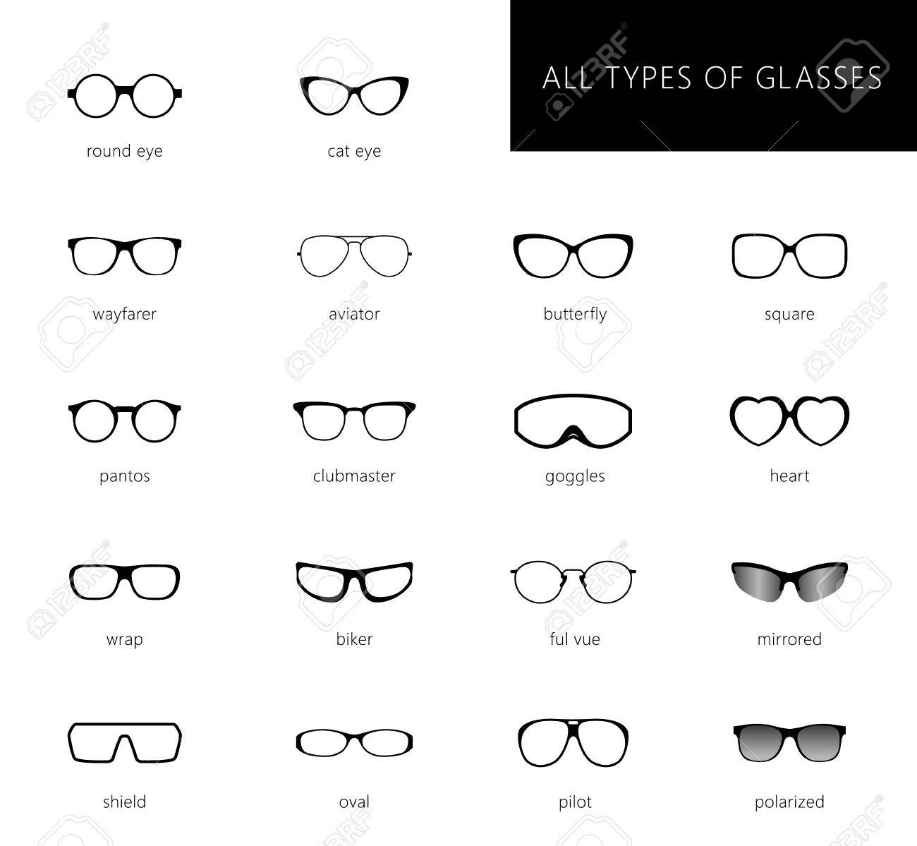 382f952c4e Flat vector glasses big set illustration. Collection of different of rim glasses  types - round