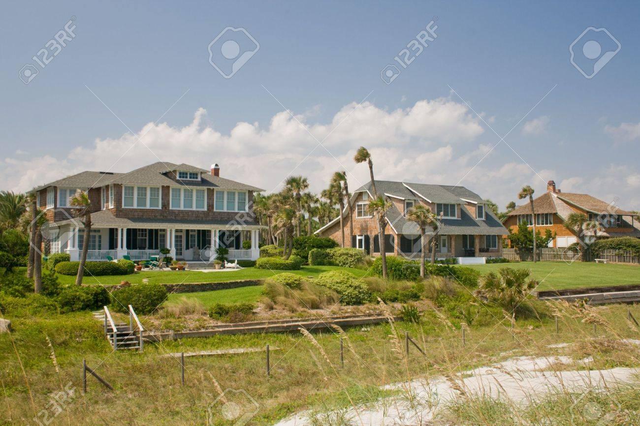 Luxus, Shake Aussenansicht Am Strand Häuser Mit Tropischen ...