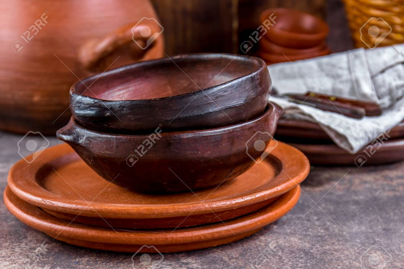 Clay Rustic Kitchenware Pot Bowls And Plates From Chilean Stock Photo Picture And Royalty Free Image Image 91382910