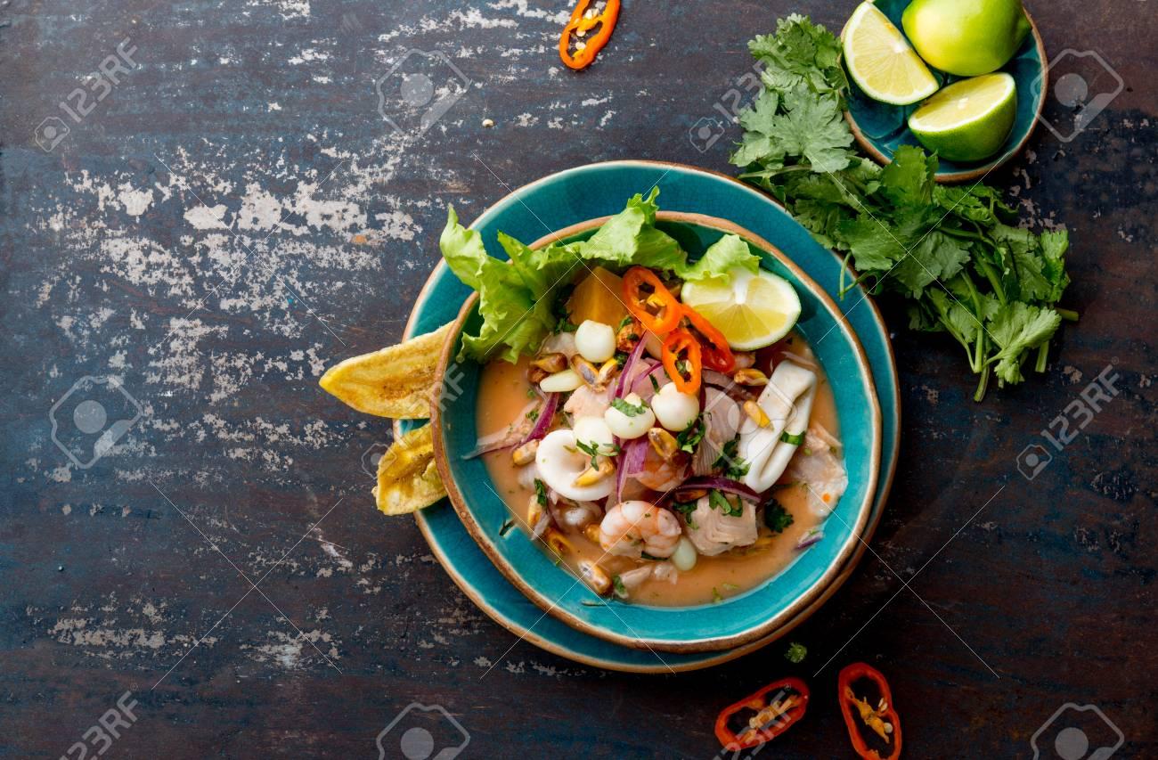 PERUVIAN CEVICHE SEBICHE. Peruvian seafood and fish sebiche with maize - 95809470