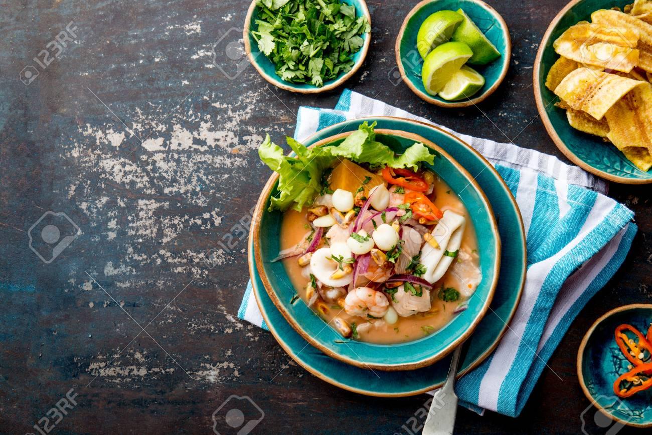 PERUVIAN CEVICHE SEBICHE. Peruvian seafood and fish sebiche with maize - 95809474