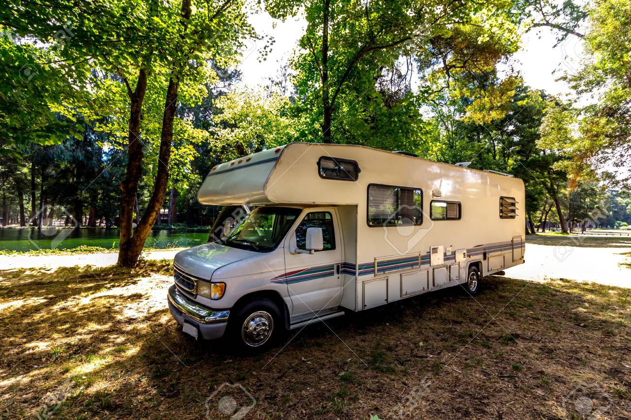 Family trip in motorhome in forest or park in South Chile - 100672948