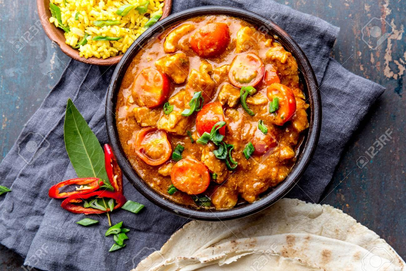 Indian Food Rogan Josh Curry Sauce Pork Rogan Josh With Rice