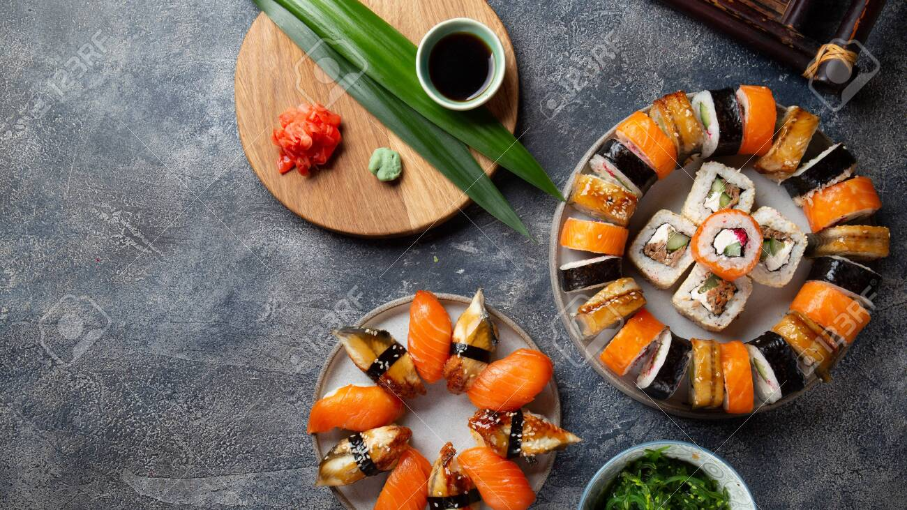 Sushi and rolls sets. Japonese food. top view. - 138107186