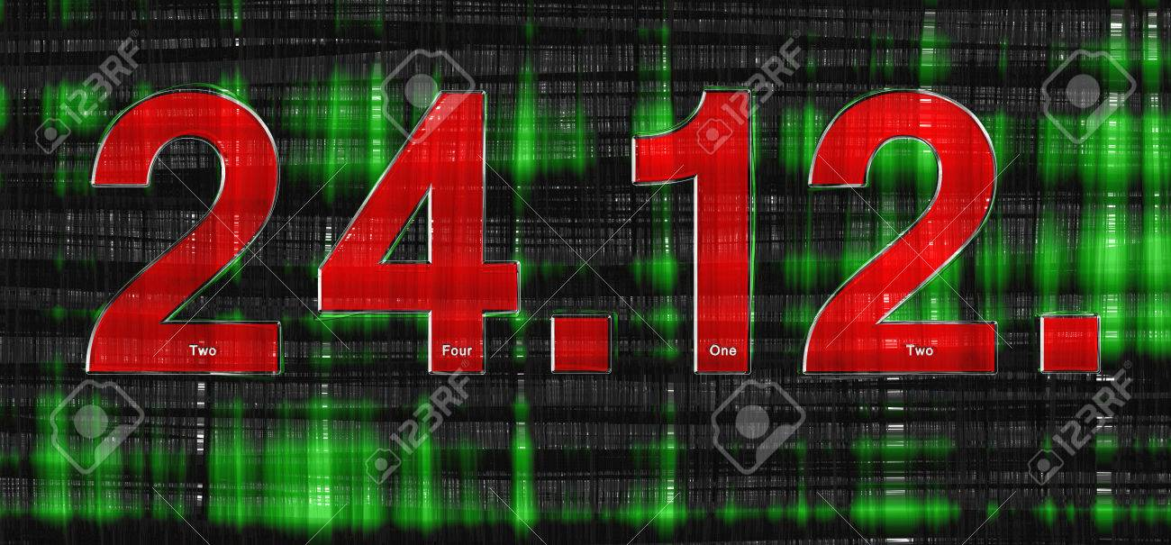 Immagini Stock Rosso Data Dicembre Il 24 Di Fronte A Uno Sfondo