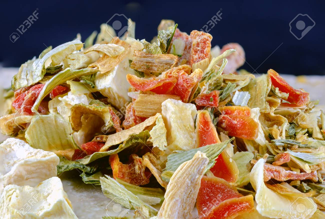 freeze-dried vegetables for soups made from carrots, leek, celeriac,